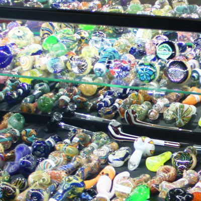 Photo of Glass Pipes in Display Case